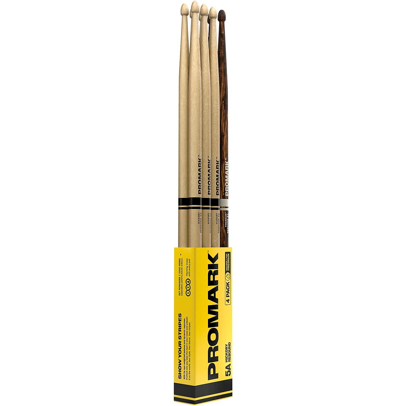 Promark Rebound Hickory Acorn Tip 3+1 FireGrain Drum Sticks 4-Pack thumbnail