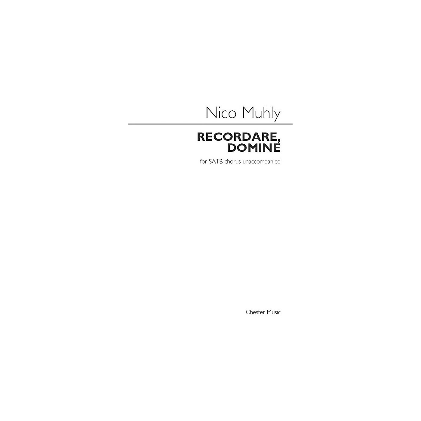 St. Rose Music Publishing Co. Recordare, Domine SATB a cappella Composed by Nico Muhly thumbnail