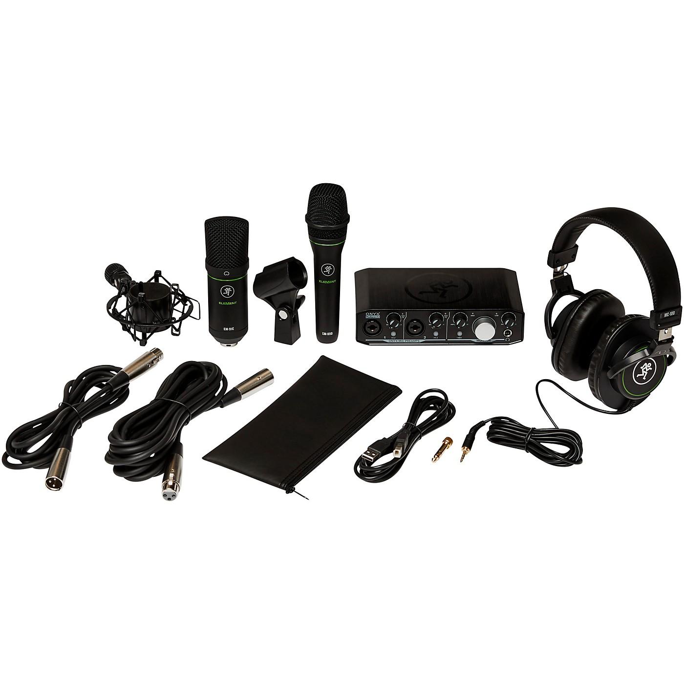 Mackie Recording Bundle with Onyx Producer Interface, EM89D Dynamic Mic, EM91C Condenser Mic and MC-100 Headphones thumbnail