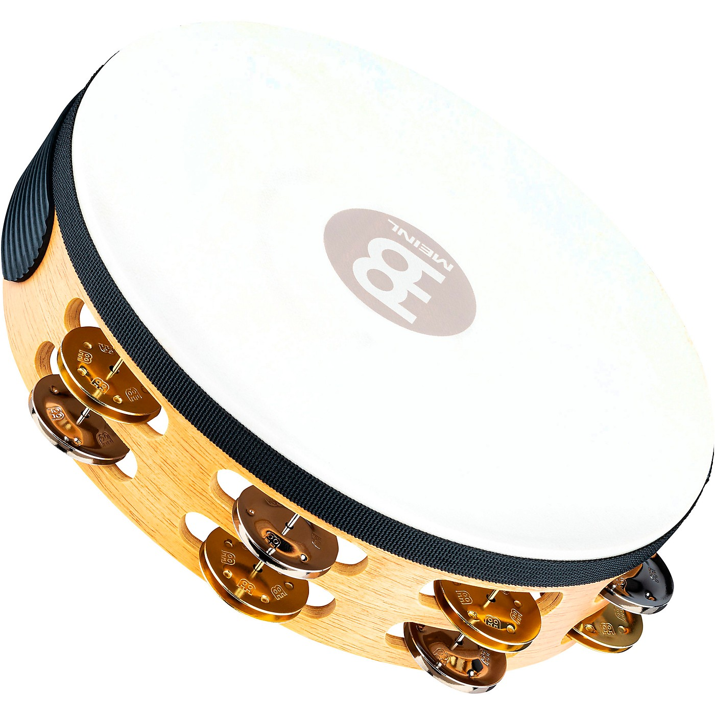 Meinl Recording-Combo Goat-Skin Wood Tambourine Two Rows Dual Alloy Jingles thumbnail