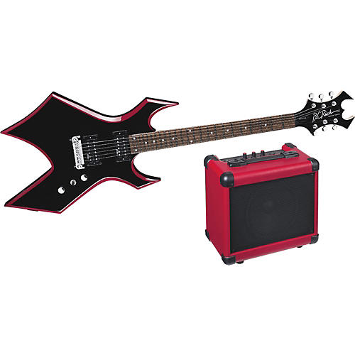 B.C. Rich Red Bevel Warlock Electric Guitar and Amp Pack thumbnail
