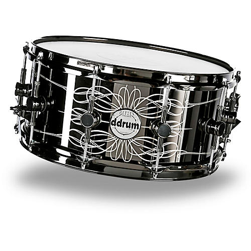 Ddrum Reflex Tattooed Lady Engraved Black Steel Snare Drum thumbnail