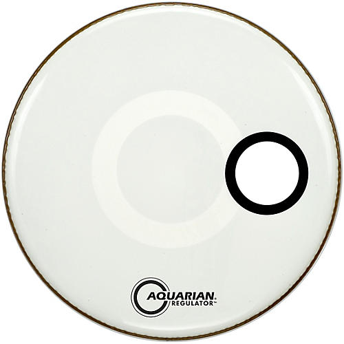 aquarian regulator off set hole gloss white bass drum head woodwind brasswind. Black Bedroom Furniture Sets. Home Design Ideas