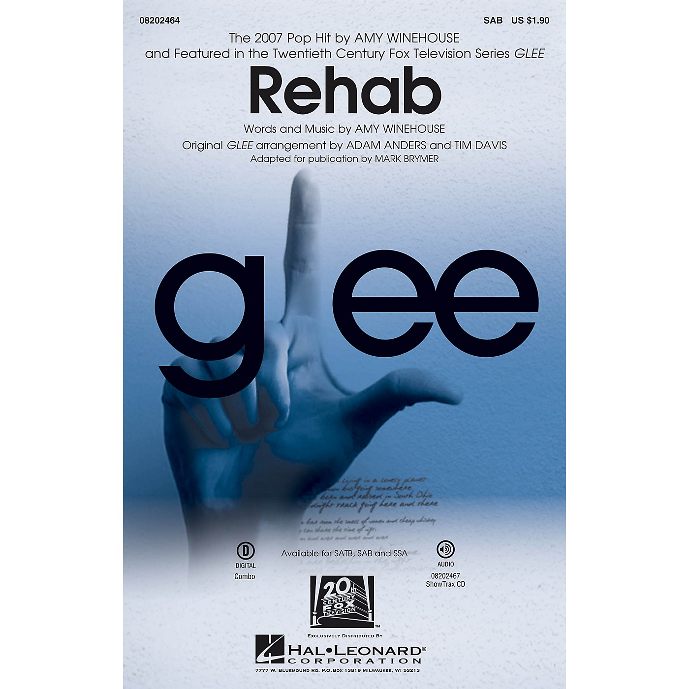 Hal Leonard Rehab (from Glee) SAB by Amy Winehouse arranged by Mark Brymer thumbnail
