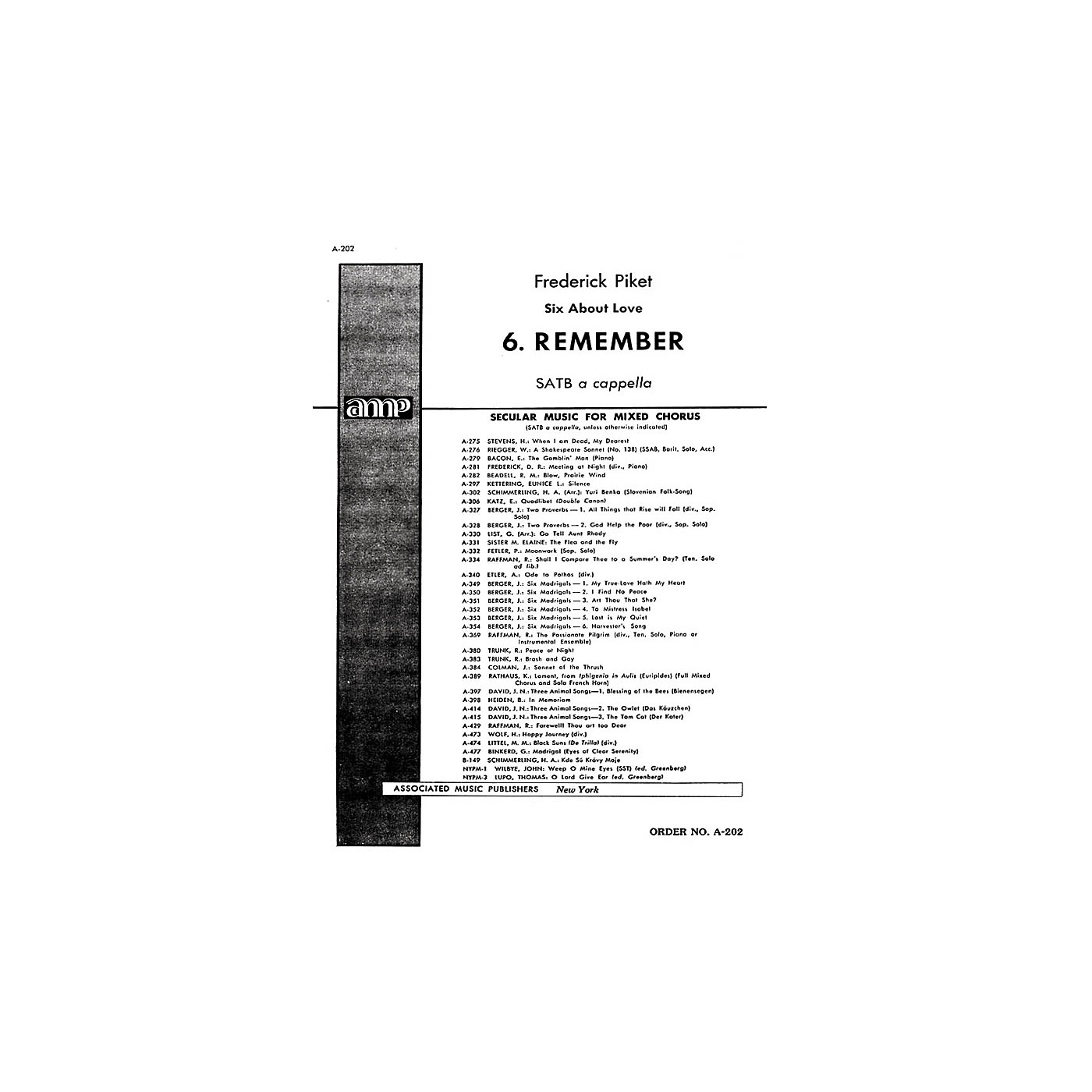 Associated Remember 6 About Love SATB composed by F Picket thumbnail