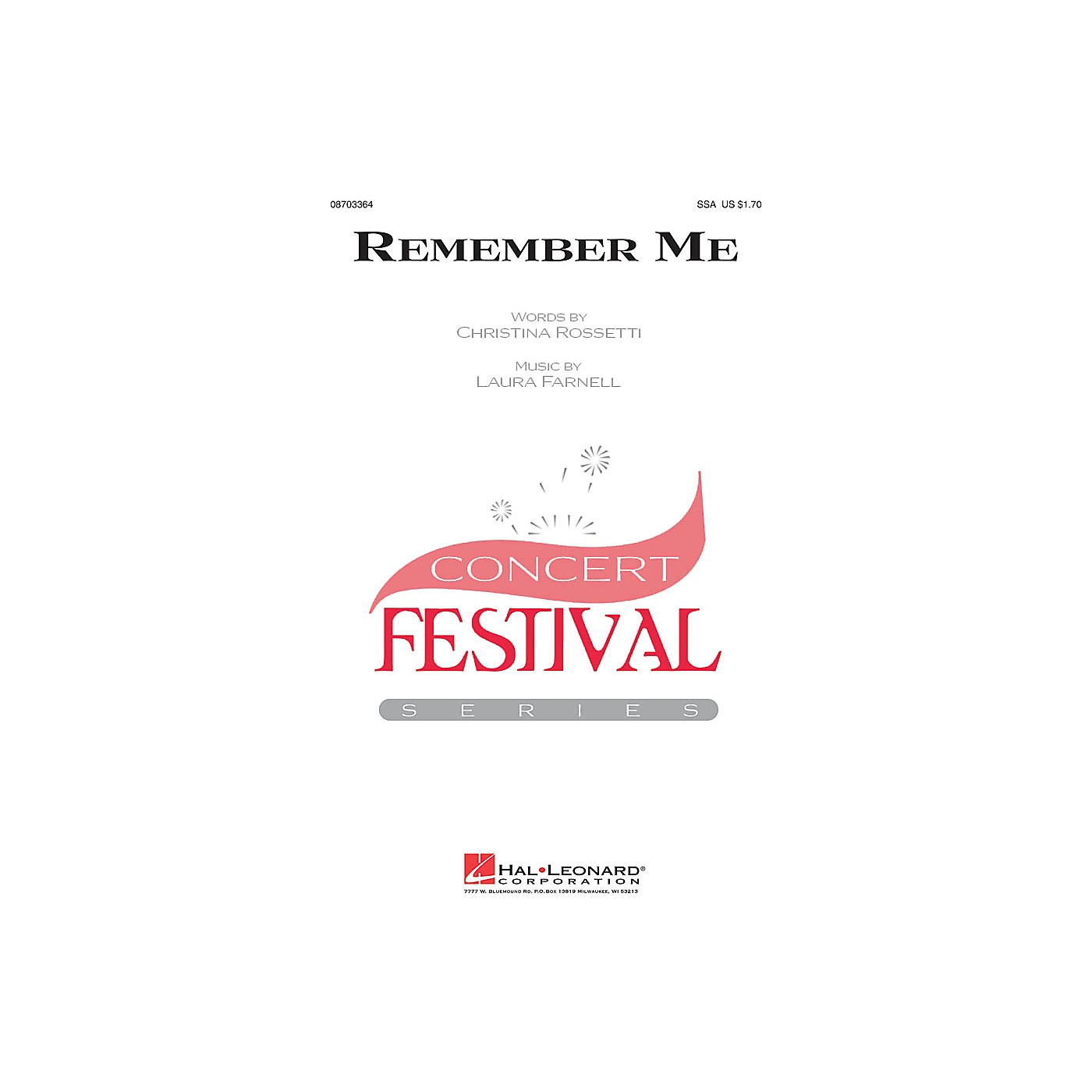 Hal Leonard Remember Me SSA composed by Laura Farnell thumbnail