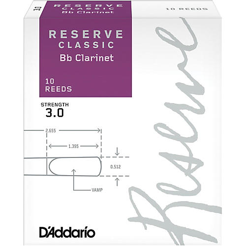 D'Addario Woodwinds Reserve Classic Bb Clarinet Reeds 10-Pack thumbnail