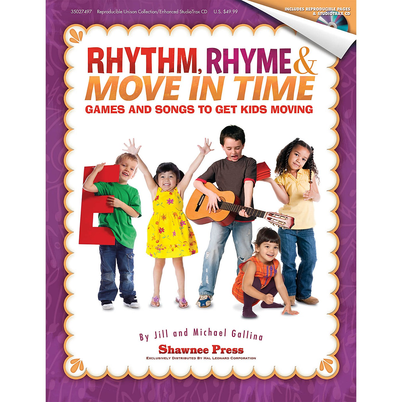 Shawnee Press Rhythm, Rhyme & Move in Time - Games and Songs to Get Kids Moving BOOK/CD composed by Jill Gallina thumbnail