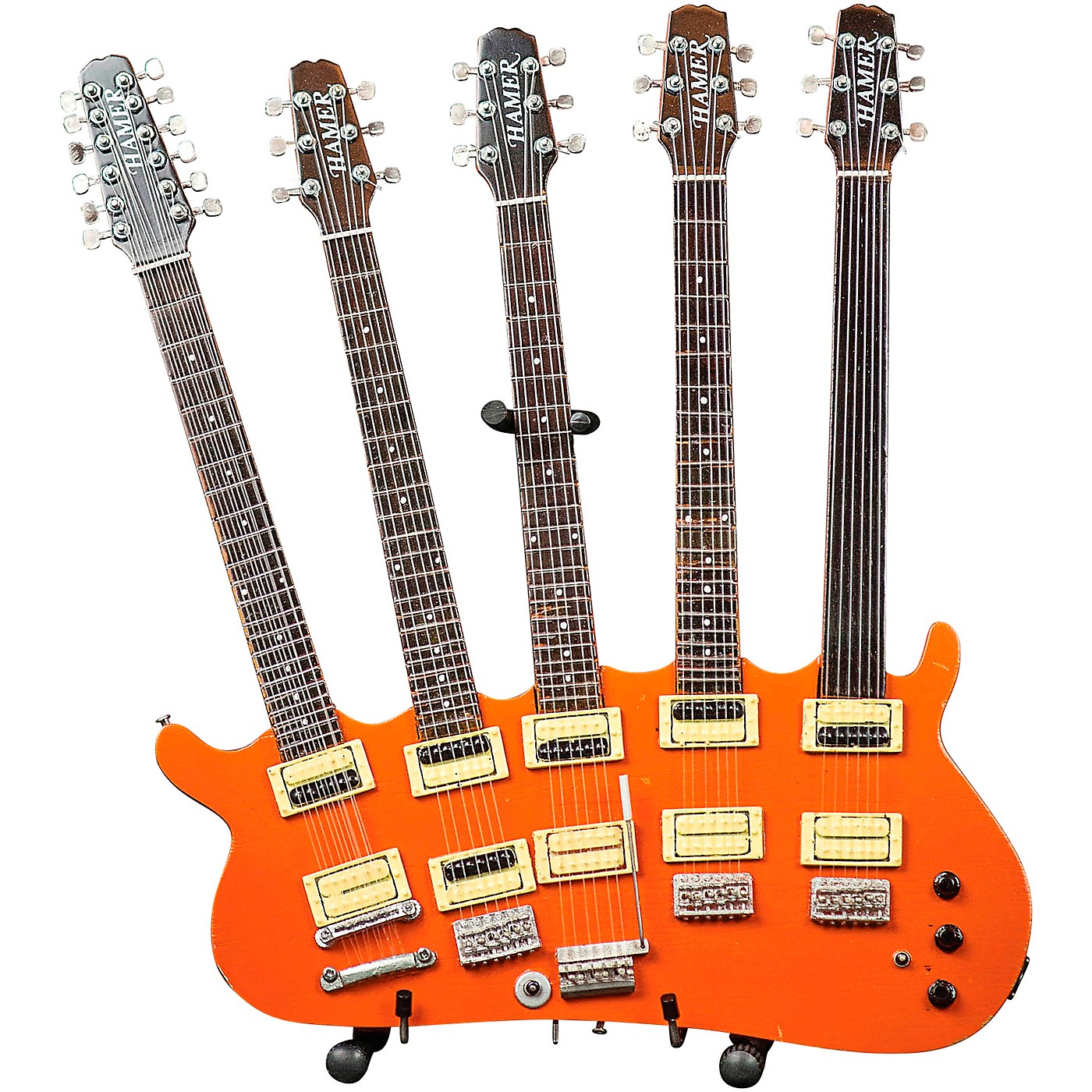 Hal Leonard Rick Nielsen 5-Neck Orange Monster Model Miniature Guitar Replica thumbnail