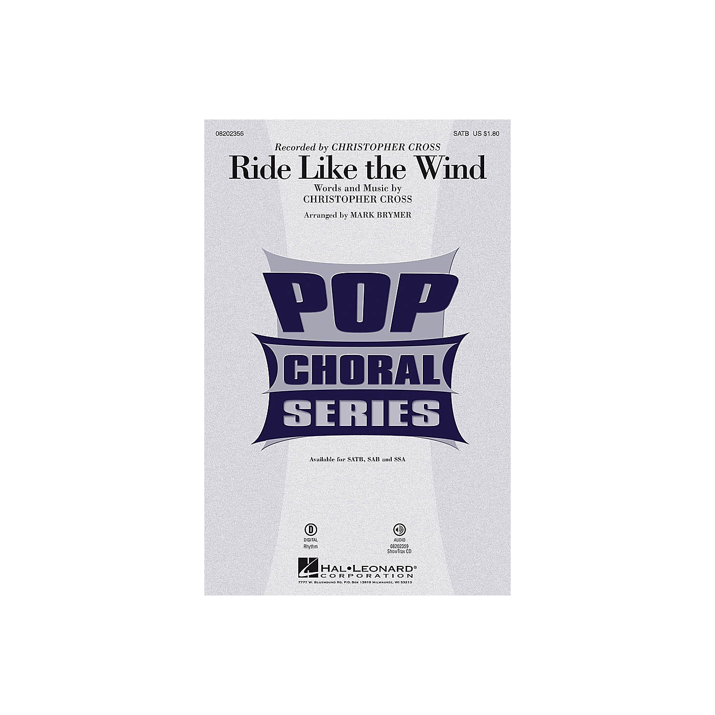 Hal Leonard Ride Like the Wind SAB by Christopher Cross Arranged by Mark Brymer thumbnail