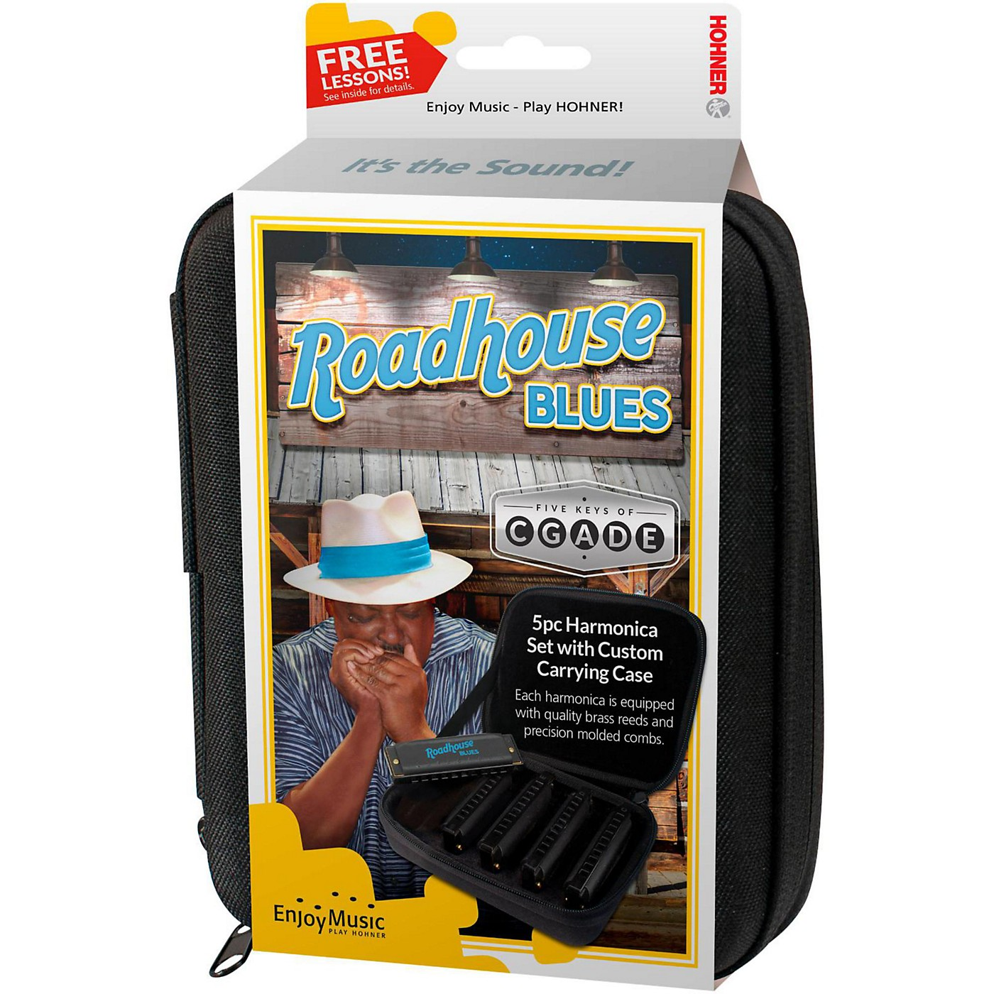 Hohner Roadhouse Blues Harmonicas - 5-Pack (Keys of G, A, C, D, and E)  in Custom Case thumbnail