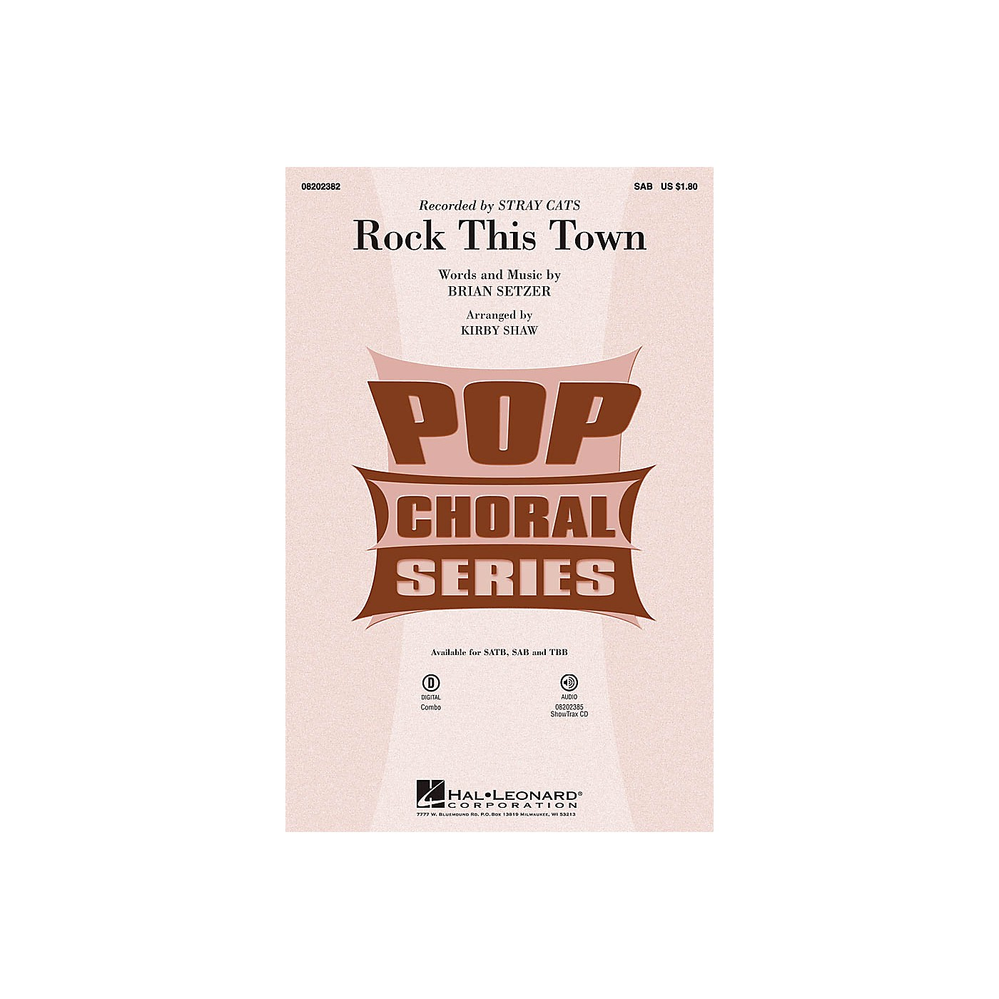 Hal Leonard Rock This Town SAB by Stray Cats arranged by Kirby Shaw thumbnail