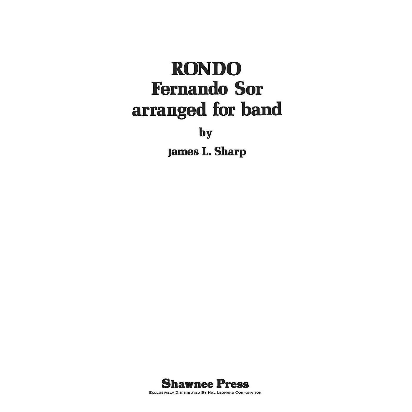 Shawnee Press Rondo Concert Band Arranged by Sharp thumbnail