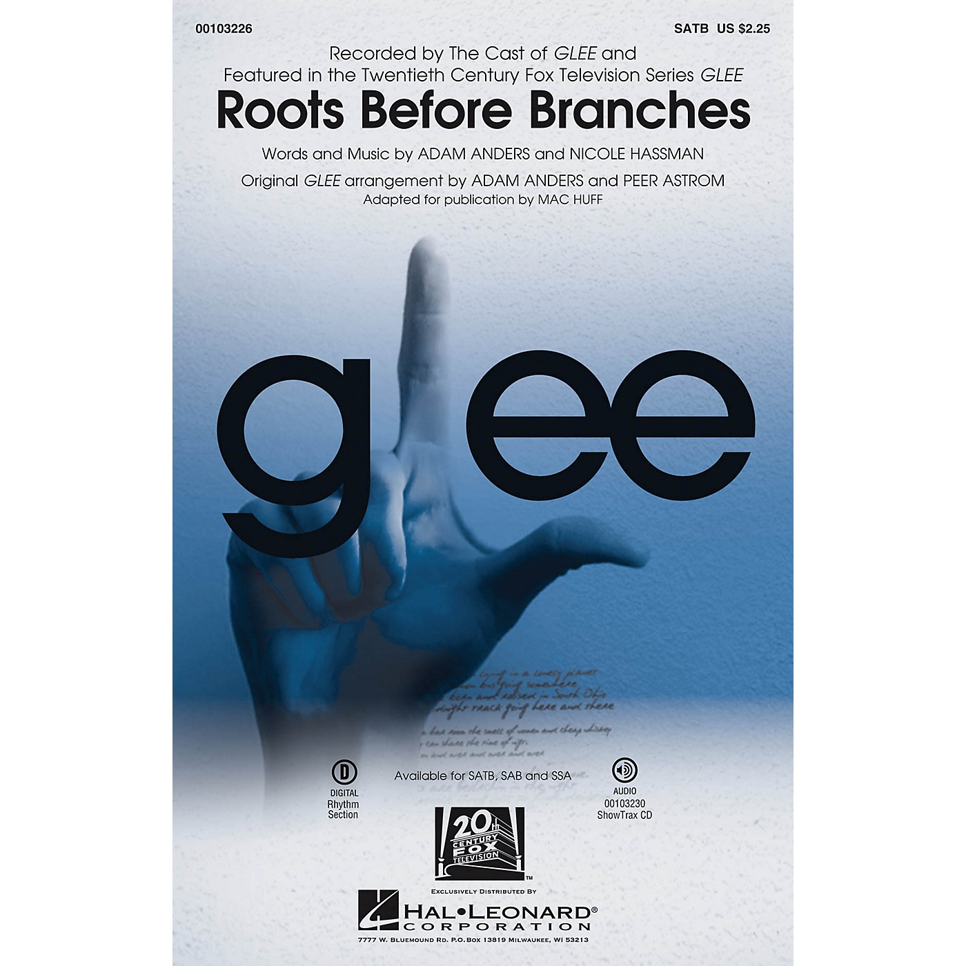 Hal Leonard Roots Before Branches ShowTrax CD by The Cast of GLEE Arranged by Adam Anders thumbnail