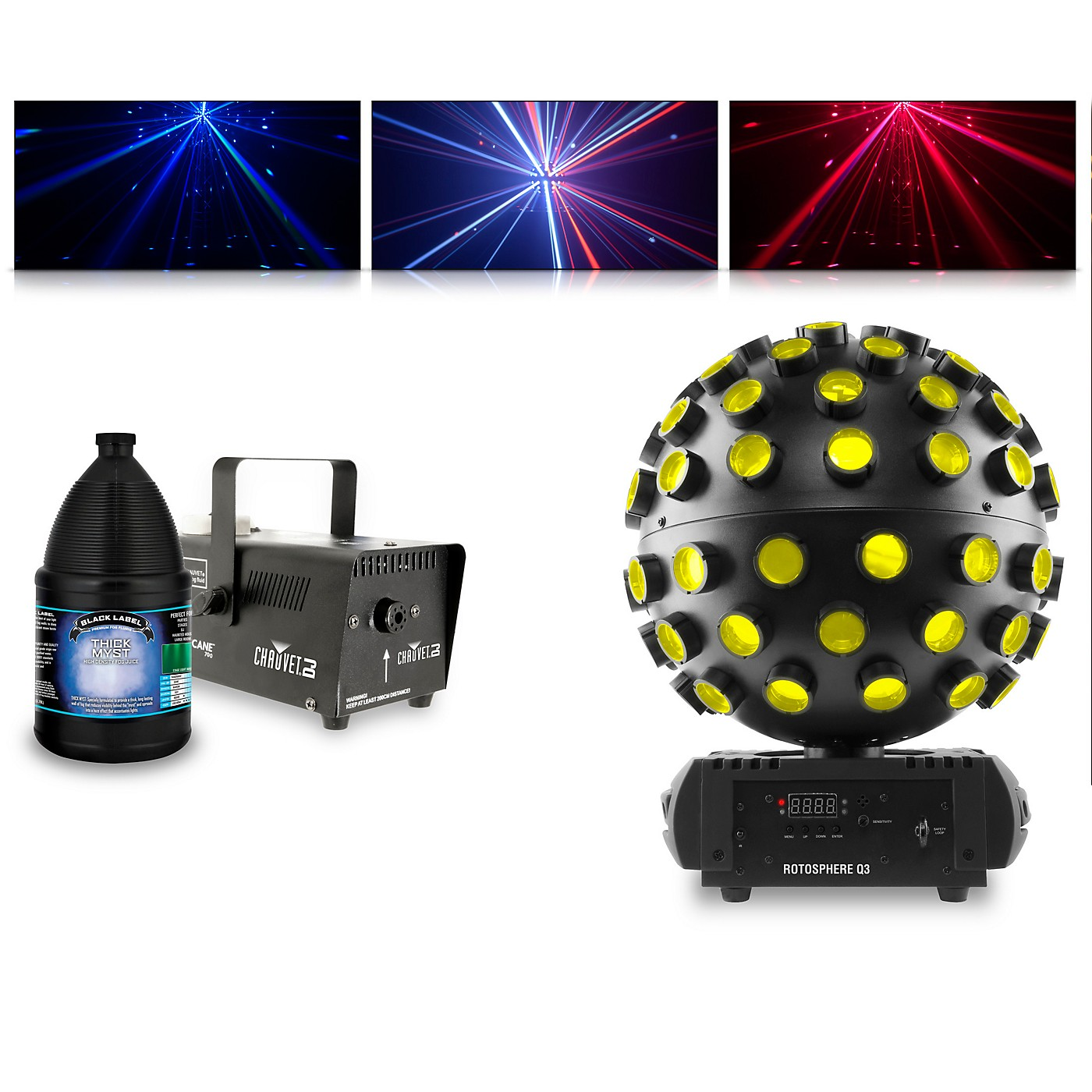 CHAUVET DJ Rotosphere Q3 with Hurricane 700 Fog Machine and Juice thumbnail