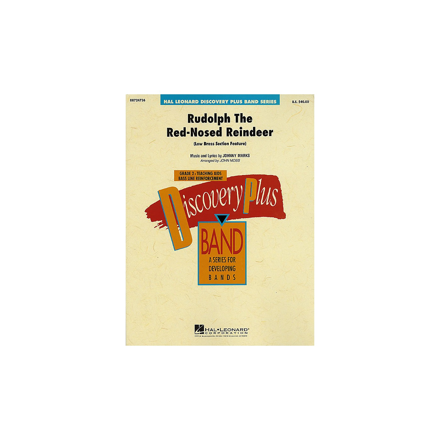 Hal Leonard Rudolph The Red-Nosed Reindeer - Discovery Plus Concert Band Series Level 2 arranged by John Moss thumbnail
