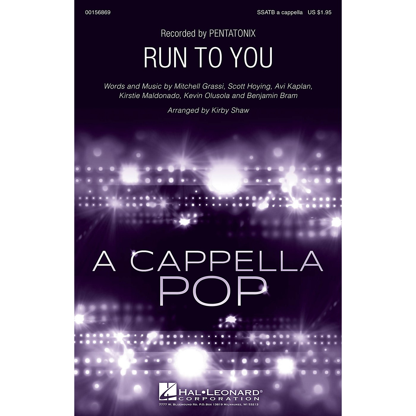 Hal Leonard Run to You SSATB A Cappella by Pentatonix arranged by Kirby Shaw thumbnail