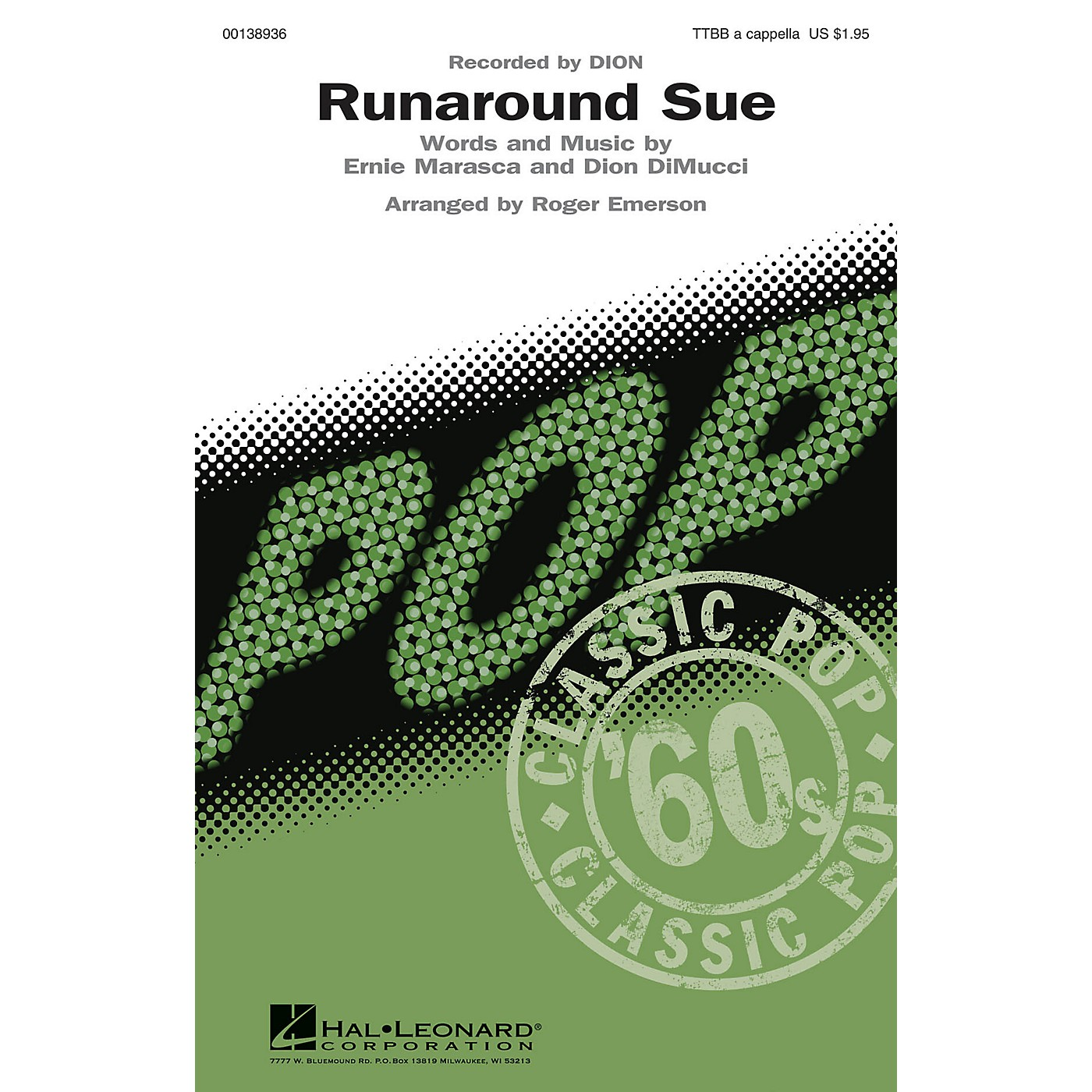Hal Leonard Runaround Sue TTBB A Cappella by Dion arranged by Roger Emerson thumbnail