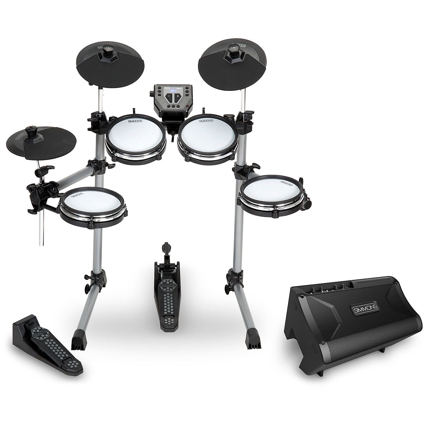 Simmons SD350 Electronic Drum Kit With Mesh Pads and DA2108  Drum Set Monitor thumbnail