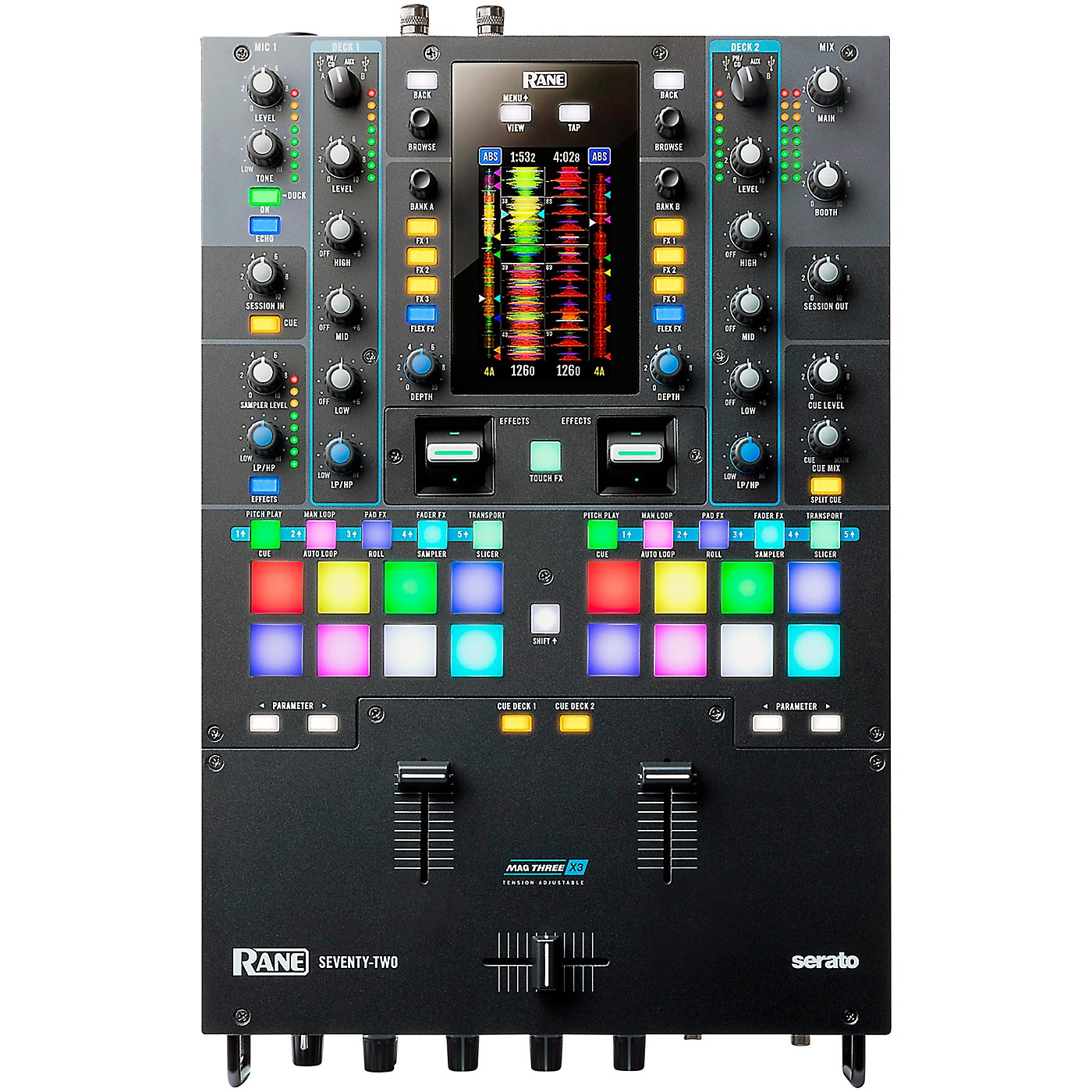 RANE DJ SEVENTY-TWO Battle-Ready 2-channel DJ Mixer with Touchscreen and Serato DJ thumbnail