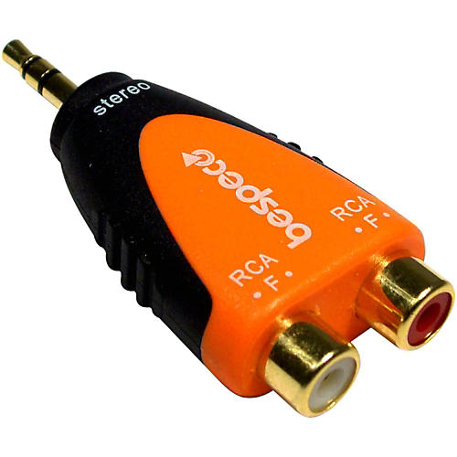 Bespeco SLAD380 3.5 mm Stereo Male to 2 RCA Female 24K Gold-Plated Adapter<br> thumbnail