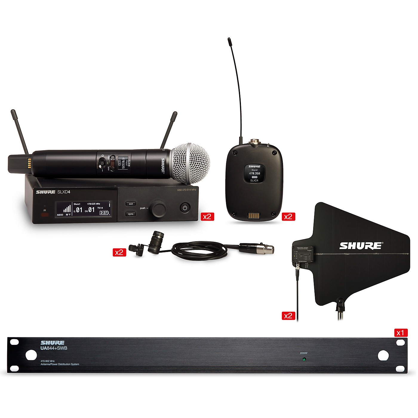 Shure SLXD Quad Combo Bundle With 2 Handheld and 2 Combo Systems With Antenna thumbnail