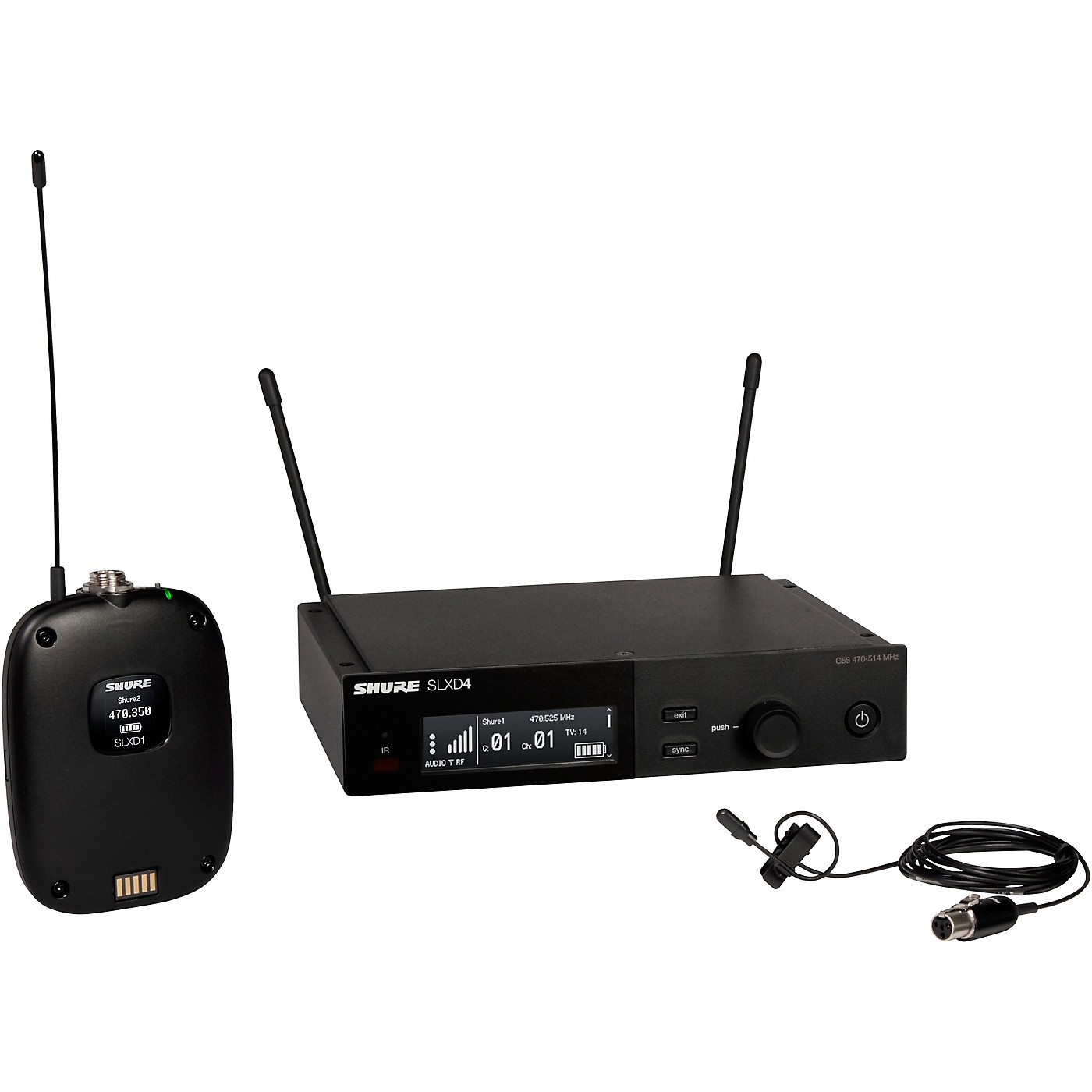 Shure SLXD14/DL4 Wireless System with SLXD1 Bodypack Transmitter, SLXD4 Receiver, and DL4B Lavalier Microphone thumbnail