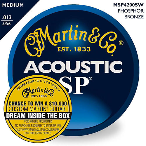 Martin SP 92/8 Medium (13-56) Gauge Acoustic Guitar Strings with Dream Inside the Box Game Piece thumbnail