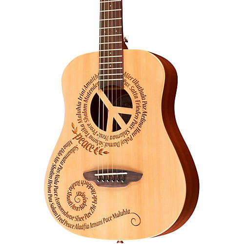 Luna Guitars Safari 3/4 Size Travel Guitar with Peace Design thumbnail