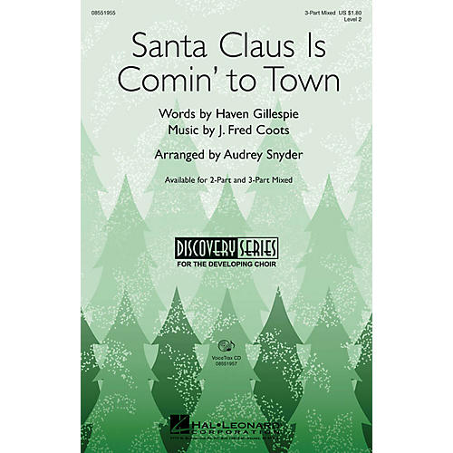 Hal Leonard Santa Claus Is Comin' to Town 2-Part Arranged by Audrey Snyder thumbnail