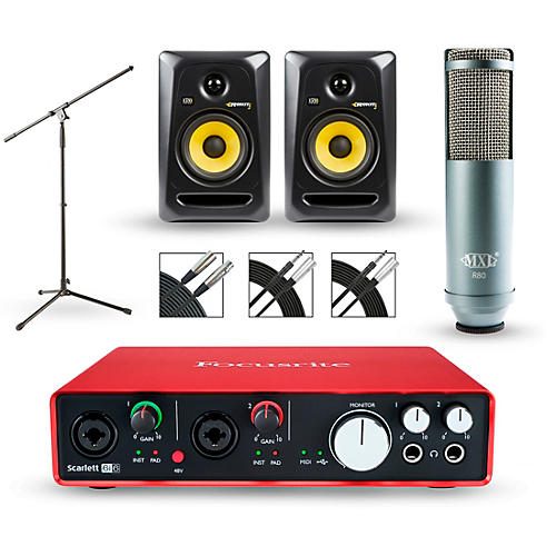 Focusrite Scarlett 6i6 Recording Package with MXL R80 and Rokit RP5G3 Pair thumbnail