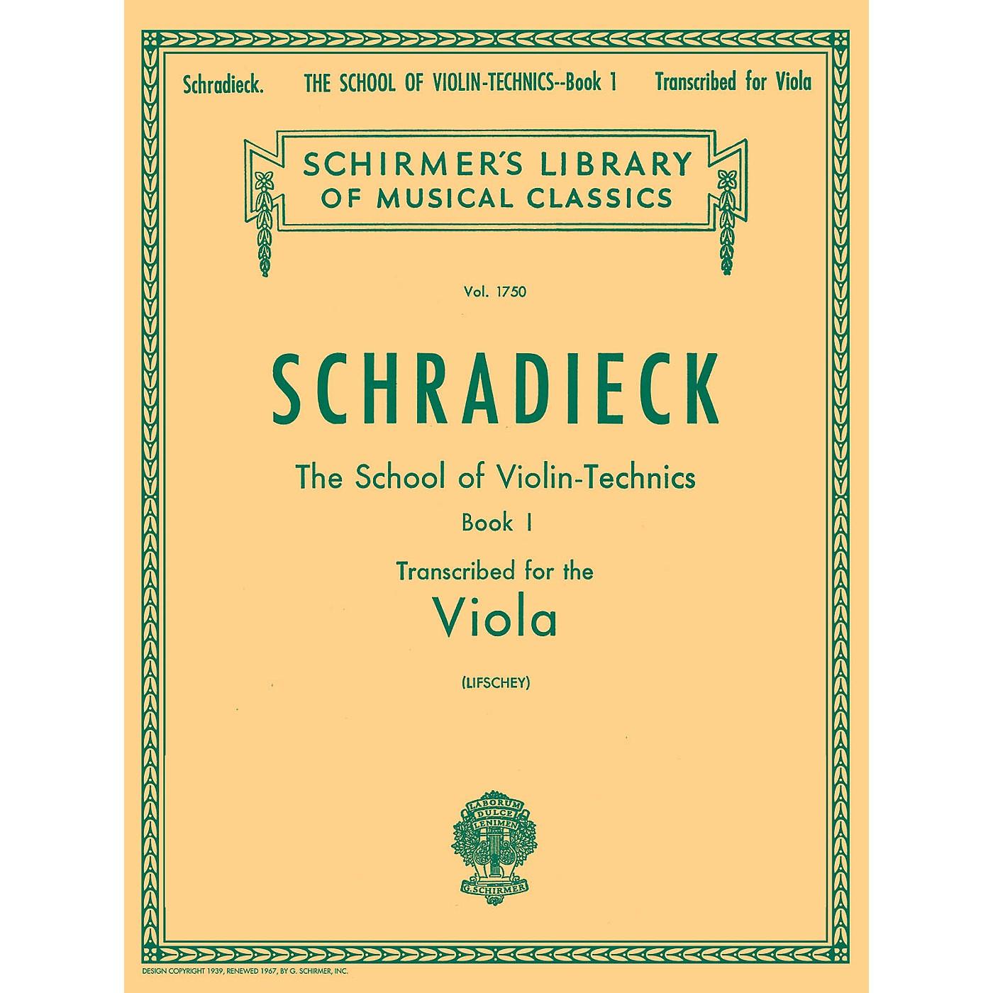 G. Schirmer School of Violin Technics, Op. 1 - Book 1 Viola Method Composed by Henry Schradieck Edited by Samuel Lifschey thumbnail