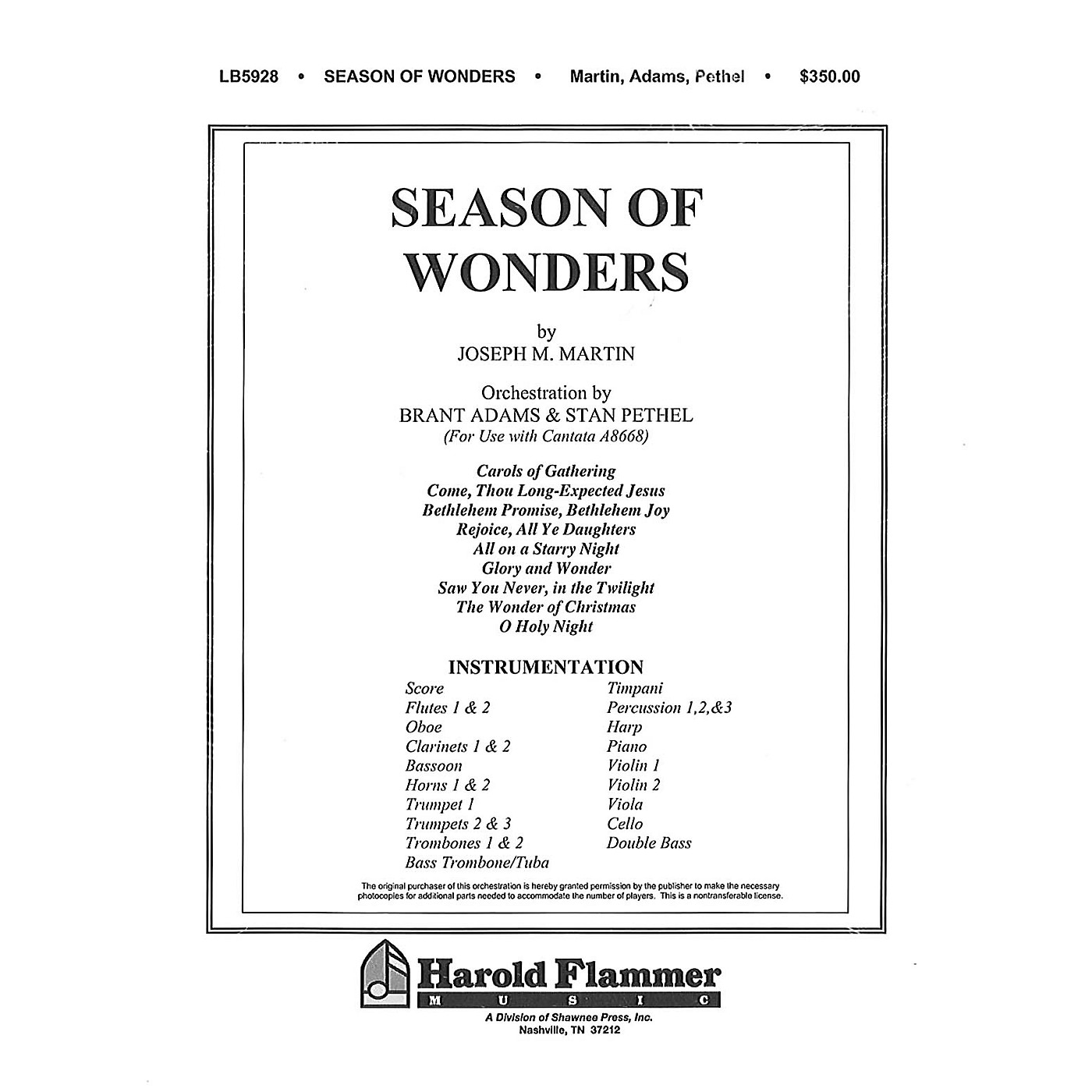 Shawnee Press Season of Wonders (Celebrating the Miracle of Christmas) Score & Parts composed by Joseph M. Martin thumbnail