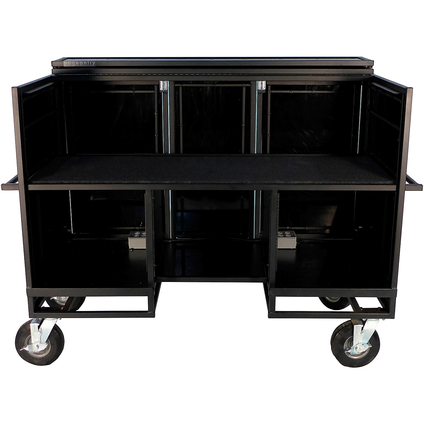 Pageantry Innovations Seated Synth/Mixer Combo Cart Stealth Series Upgrade w/ Bi-Fold Top Cover thumbnail