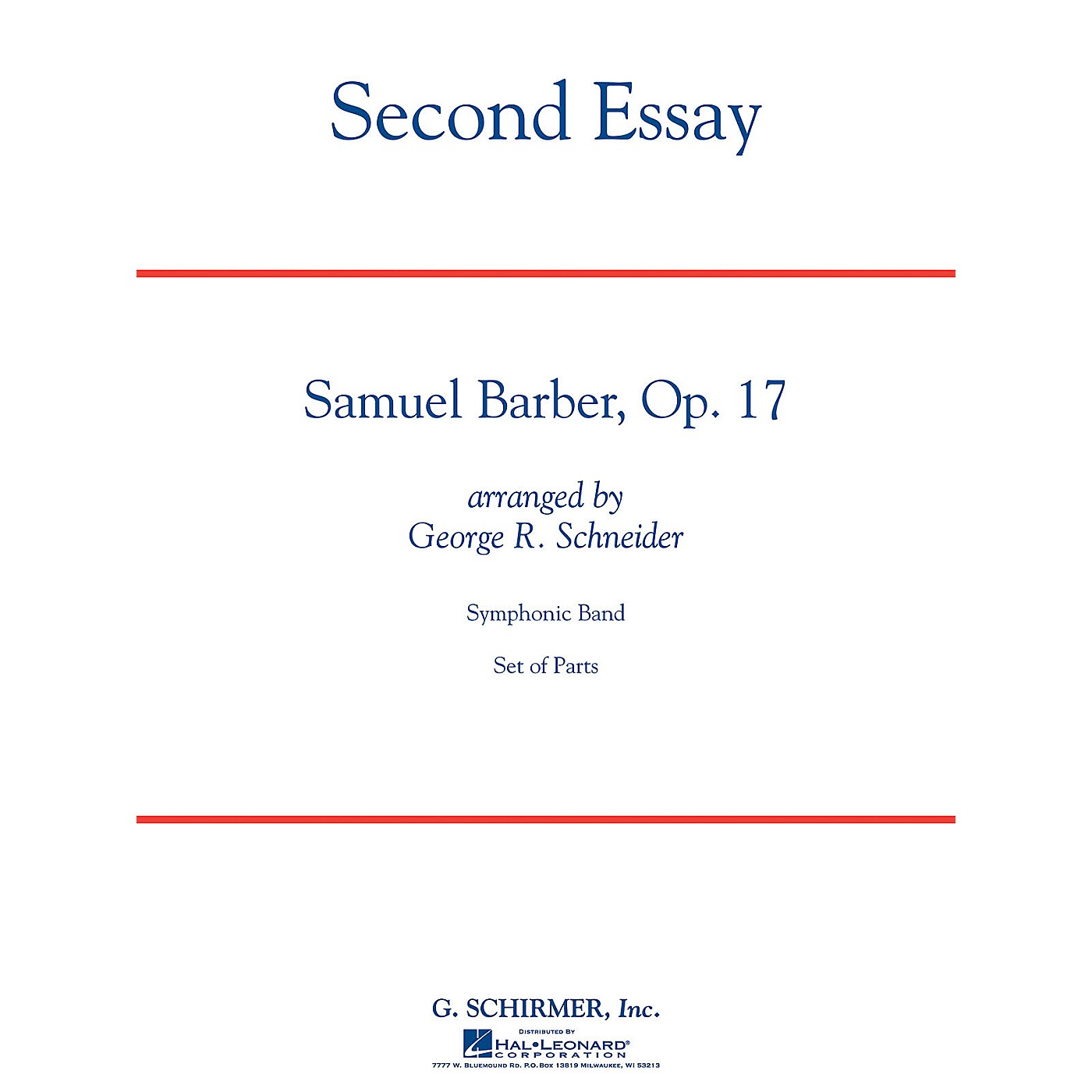 G. Schirmer Second Essay Concert Band Level 5 Composed by Samuel Barber thumbnail