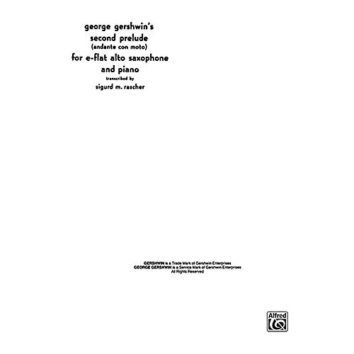 Alfred Second Prelude for Alto Sax By George Gershwin / arr. Sigurd Rascher Book thumbnail