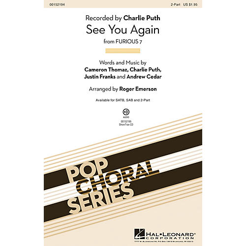 Hal Leonard See You Again 2-Part by Charlie Puth arranged by Roger Emerson thumbnail