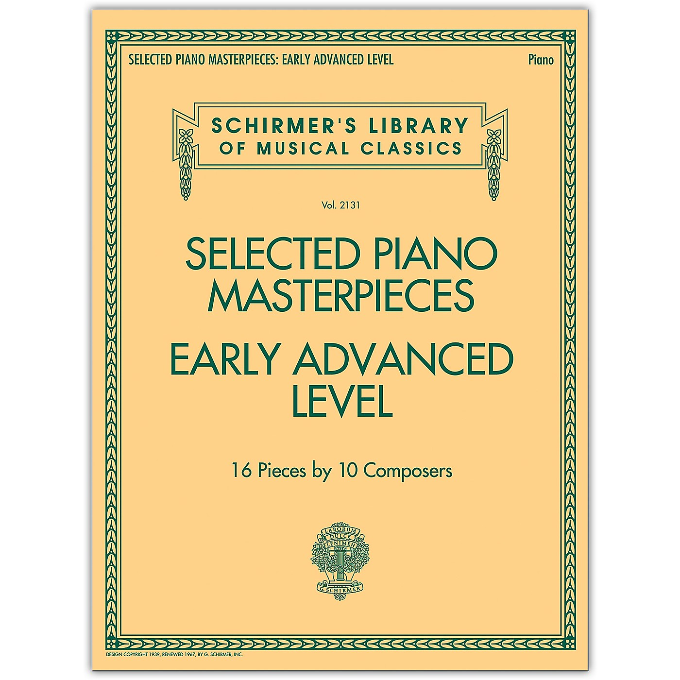 G. Schirmer Selected Piano Masterpieces - Early Advanced Schirmer's Library Of Musical Classics Piano Collection thumbnail