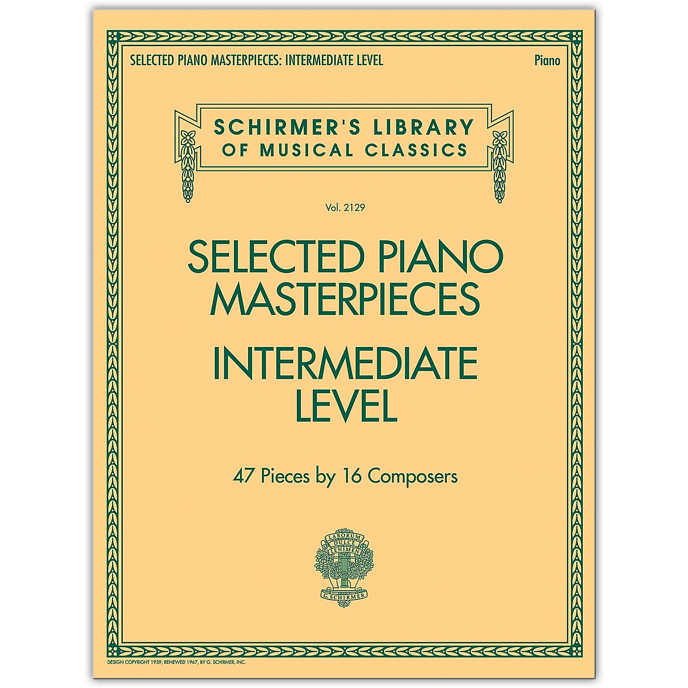 G. Schirmer Selected Piano Masterpieces - Intermediate Level Piano Collection Series Softcover thumbnail