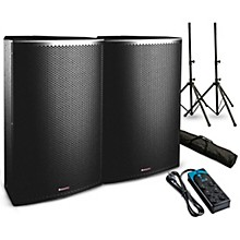 "American Audio Sense 8 8"" Passive Speaker Pair with Stands and Power Strip"