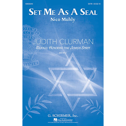 G. Schirmer Set Me as a Seal (Judith Clurman Choral Series) SATB composed by Nico Muhly thumbnail