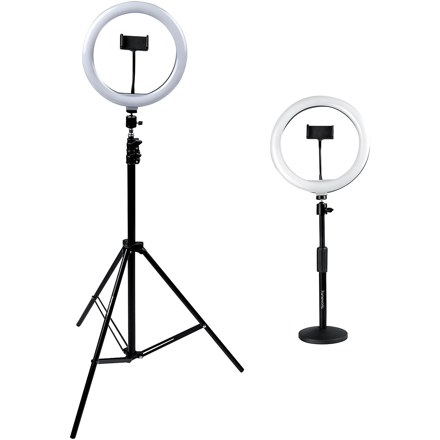 Gator Set of Two (2) Height-Adjustable Stands with Pivoting LED Ring Lights and Universal Phone Holders thumbnail