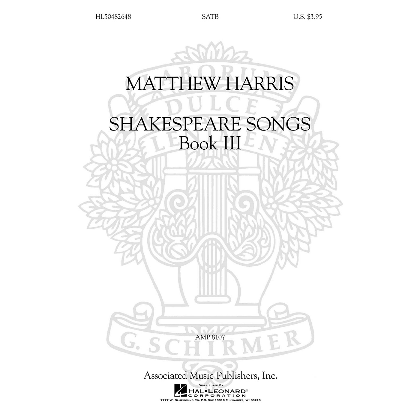 G. Schirmer Shakespeare Songs, Book III SATB a cappella composed by Matthew Harris thumbnail