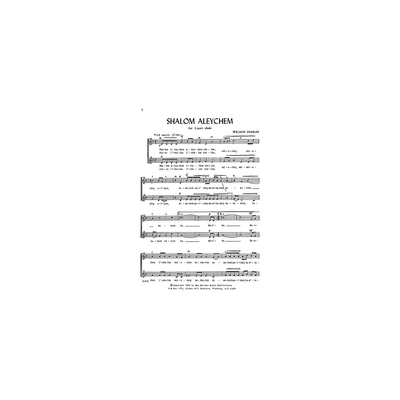 Transcontinental Music Shalom Aleychem SA composed by William Sharlin thumbnail