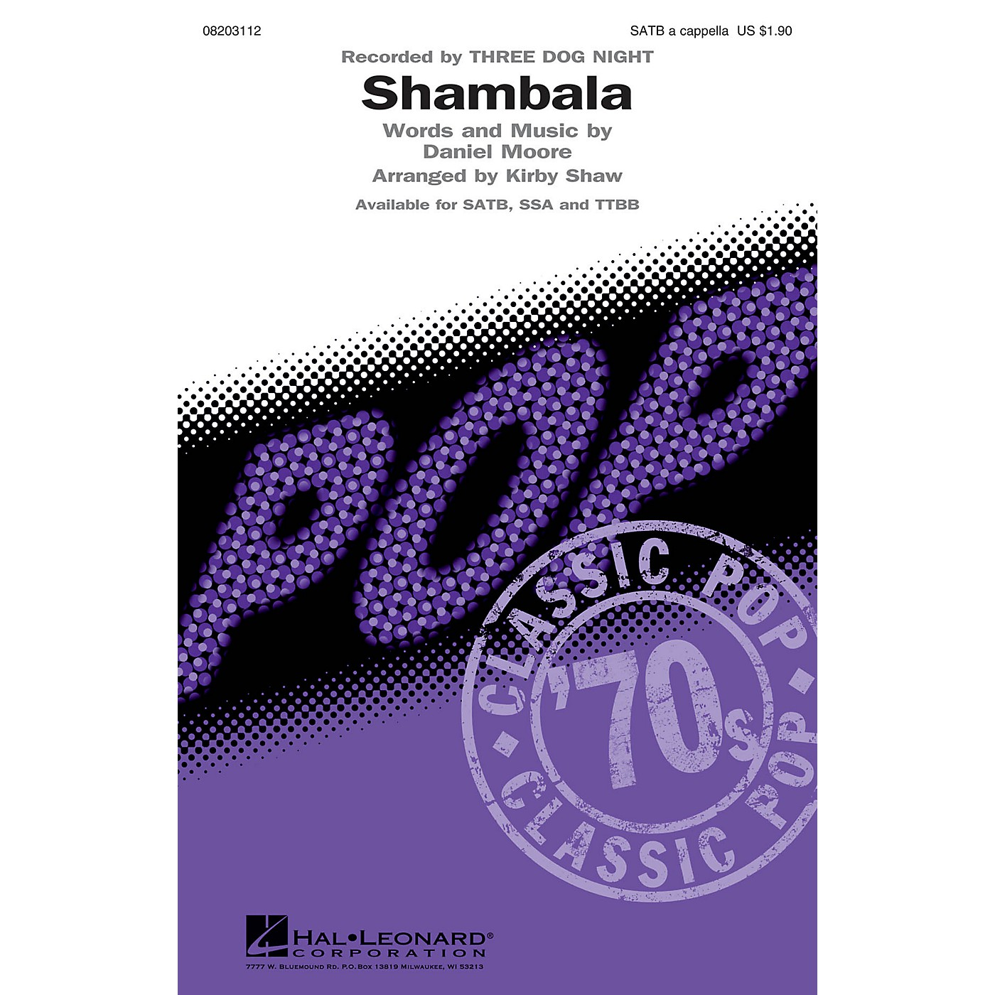 Hal Leonard Shambala TTBB A Cappella by Three Dog Night Arranged by Kirby Shaw thumbnail
