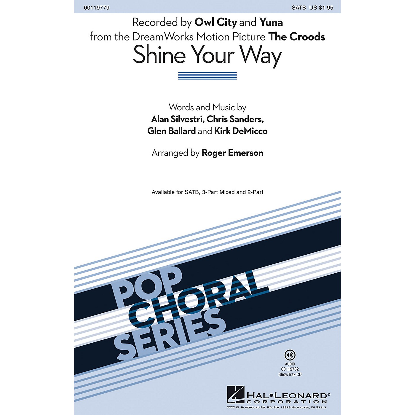 Hal Leonard Shine Your Way (from The Croods) (SATB) SATB by Owl City arranged by Roger Emerson thumbnail
