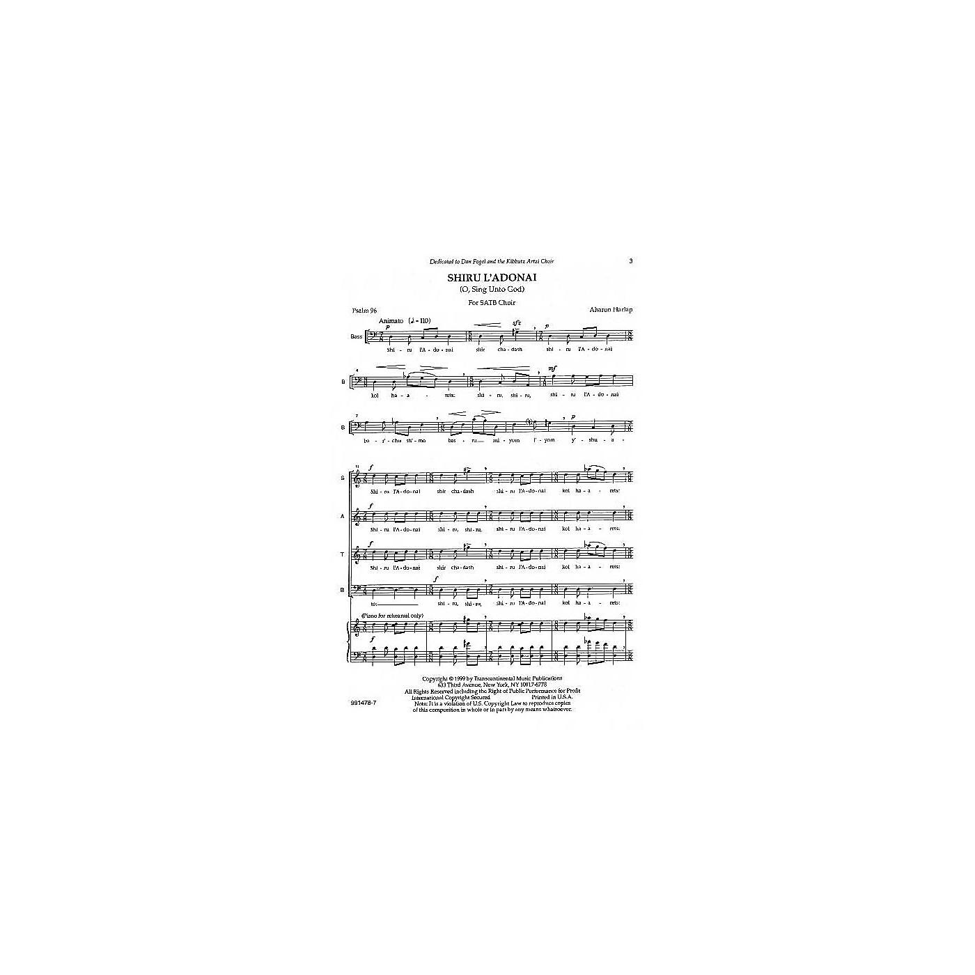 Transcontinental Music Shiru L'adonai (O Sing Unto God) SATB composed by Aahron Harlap thumbnail