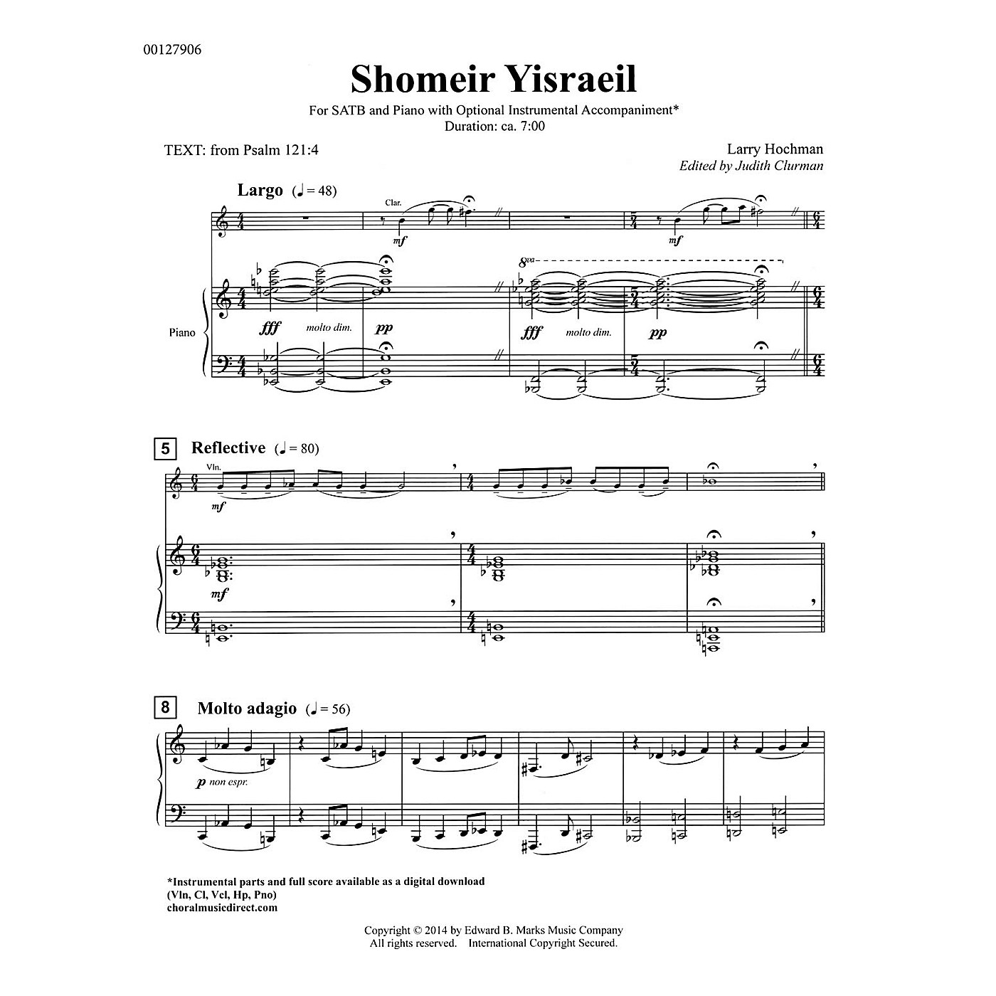 Edward B. Marks Music Company Shomeir Yisraeil (Guardians of Israel) SATB Composed by Larry Hochman Edited by Judith Clurman thumbnail