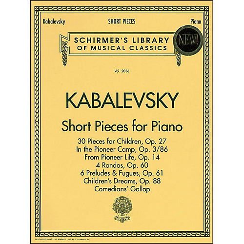 G. Schirmer Short Pieces for Piano Solo Intermediate Level By Kabalevsky thumbnail