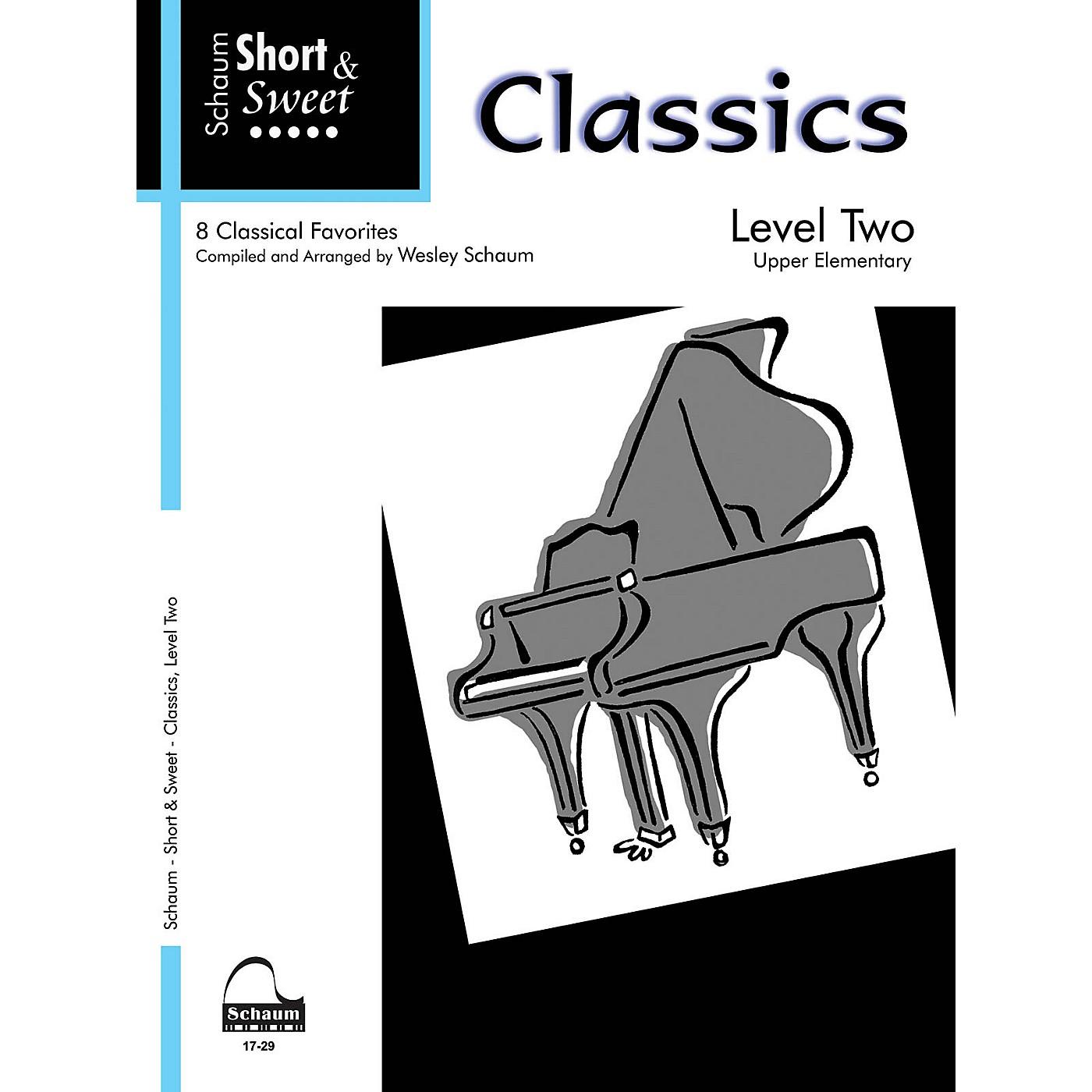 SCHAUM Short & Sweet: Classics (Level 2 Upper Elem Level) Educational Piano Book thumbnail